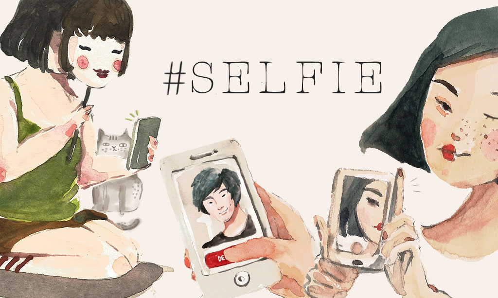 Cartoon image of two girls taking selfies with text overlay of #selfie