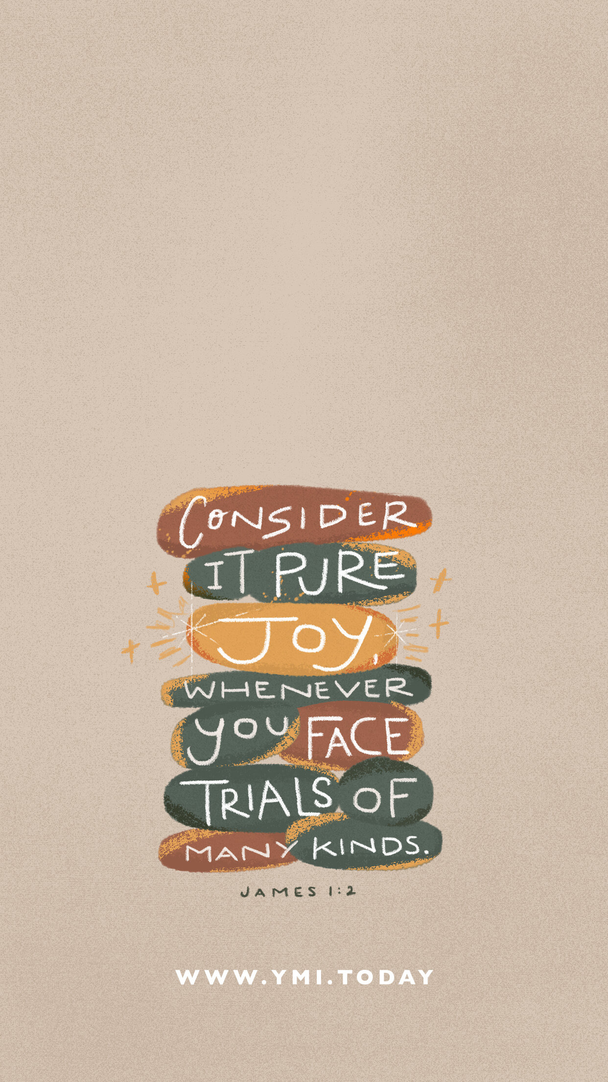 YMI April 2020 Phone Lockscreen - Consider it pure joy whenever you face trials of many kinds. - James 1:2