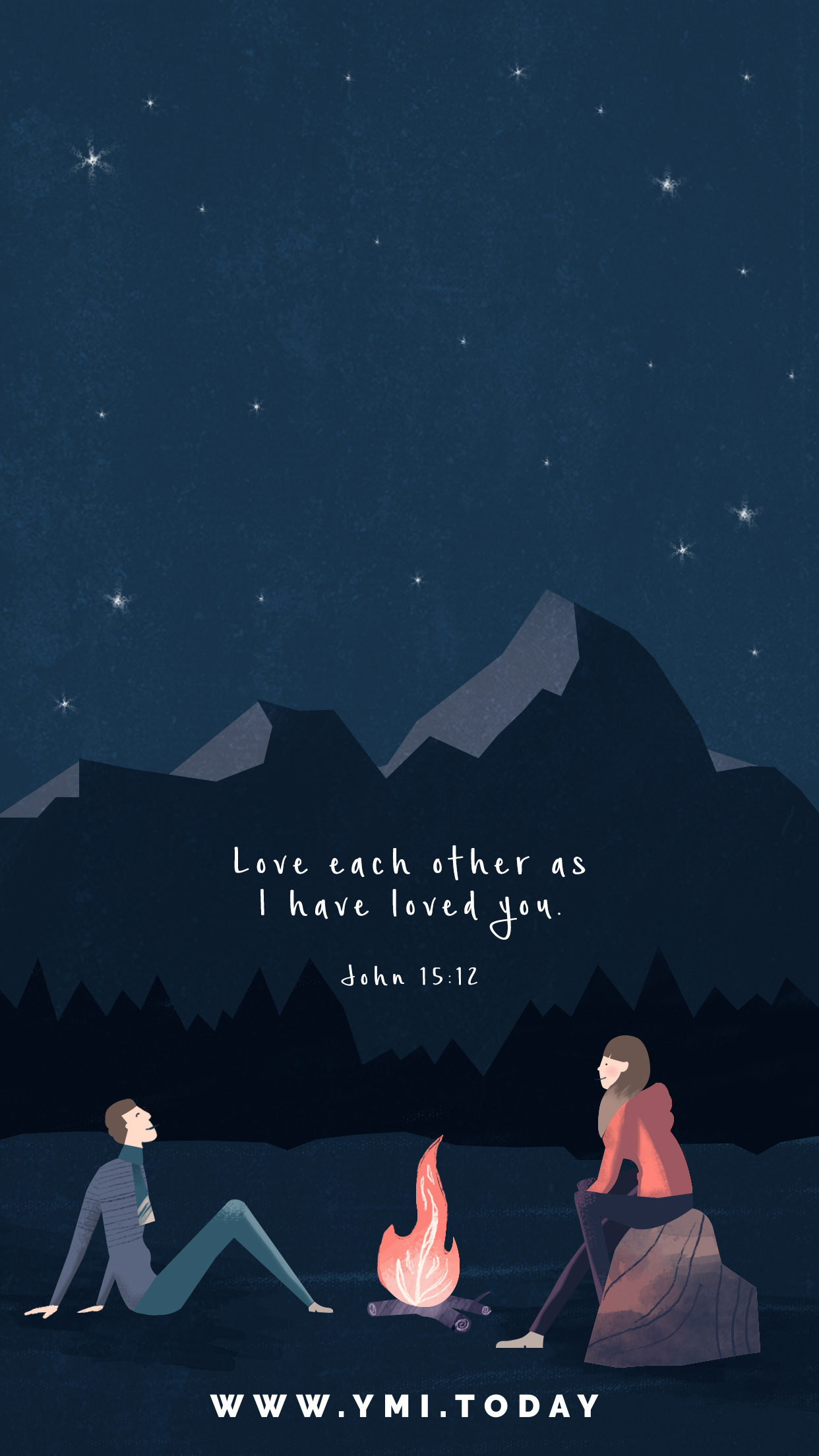 YMI January 2018 Phone Lockscreen - Love each other as I have loved you. - John 15:12