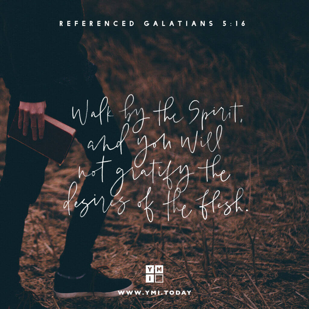 YMI Typography - Walk by the Spirit,and you will not gratify the desires of the flesh. - Galatians 5:16