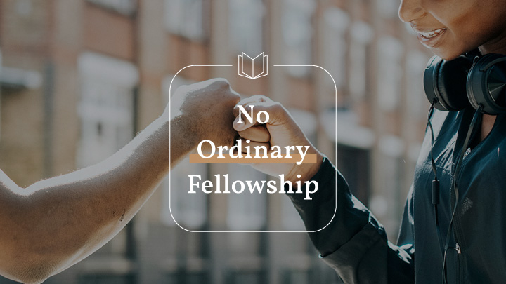 Two hands fistbumping with a text overlay of No Ordinary Fellowship, a Phillipians bible reading plan