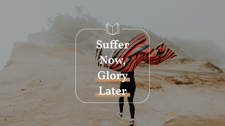 Person running in a desert with a blanket with text overlay of Suffer Now, Glory Later, a Phillipians bible reading plan