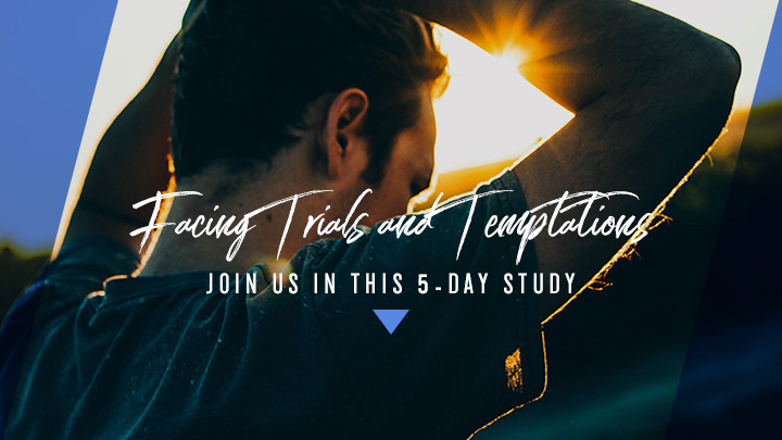 Man with his hands on his head with a text overlay, Facing Trials and Temptations, Join Us in this 5-Day Study, a reading plan