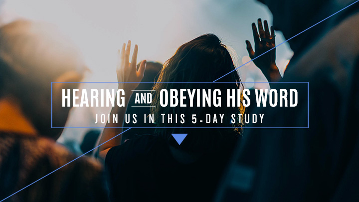 Concert crowd with their hands up with a text overlay of Hearing and Obeying His Word, Join Us in this 5-Day Study, a reading plan