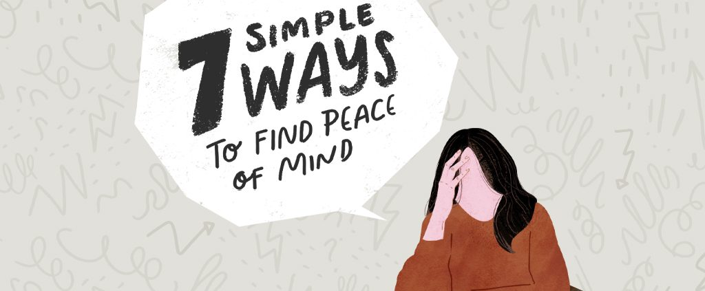 Cartoon girl thinking of 7 simple ways to find peace of mind