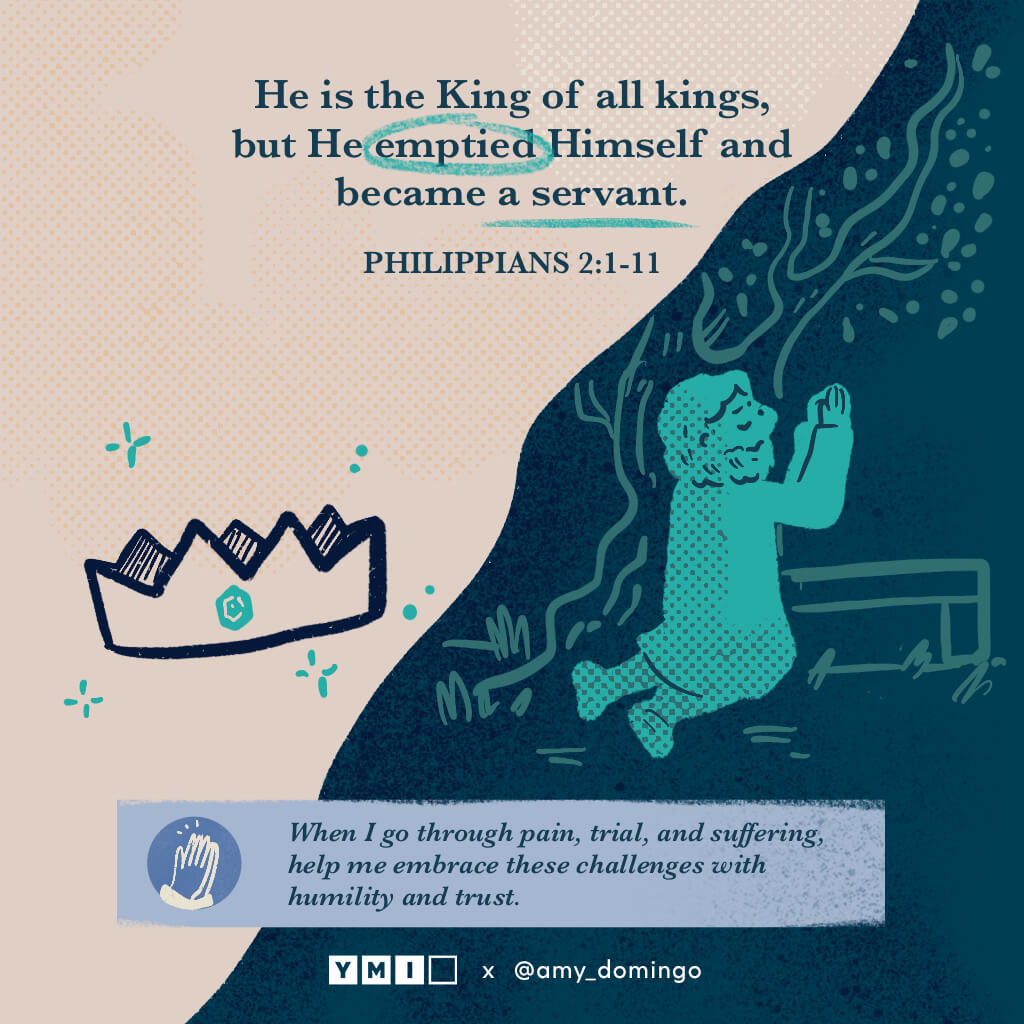 Jesus praying in the garden with crown He is the king of all kings, but emptied Himself and became a servant