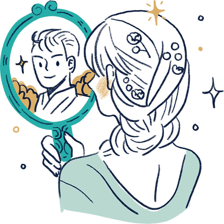 Image of a girl holding mirror and see a handsome guy