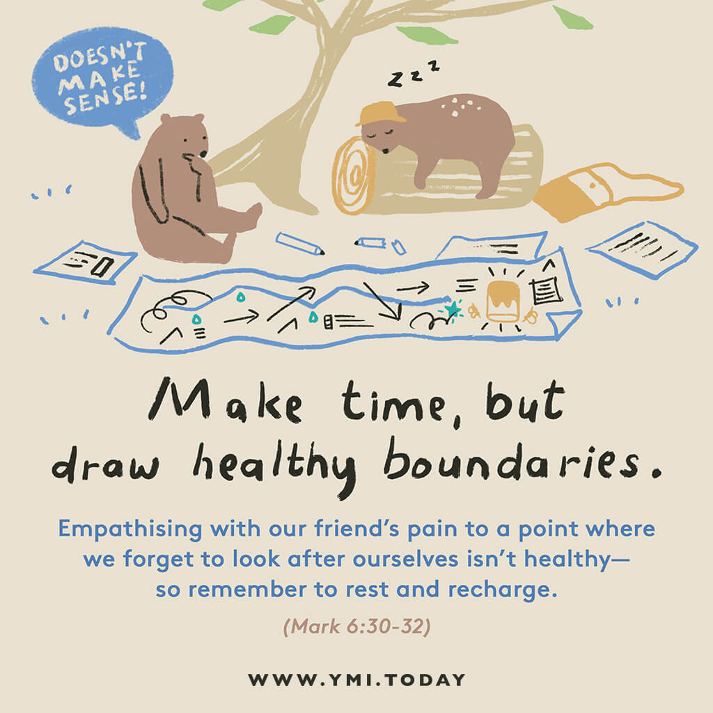 image of two bears talking together in a park with a map and pencils