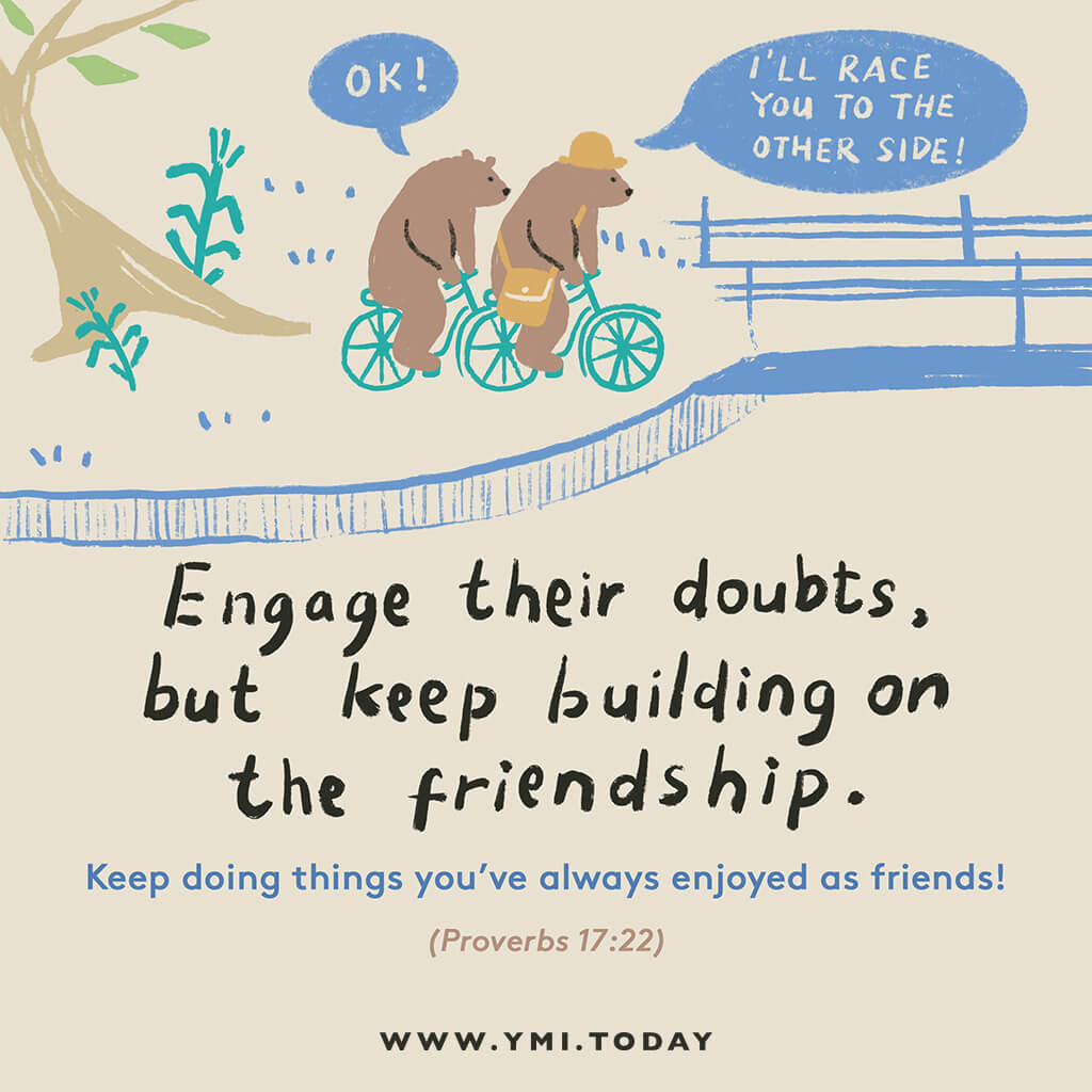image of two bears talking together in a park ride bicycle together in a race to the other side through a bridge