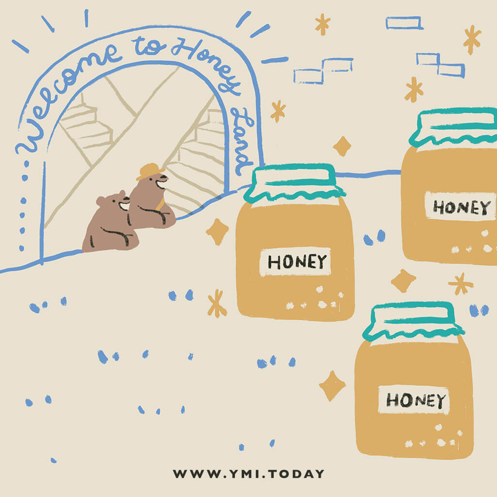 image of two bears arrive in the honey land so happily