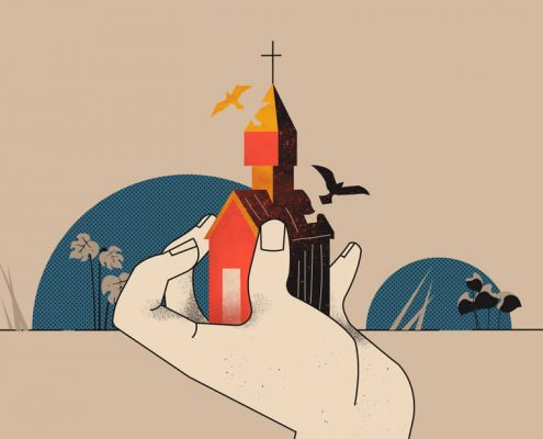 Image of hand clasping a church