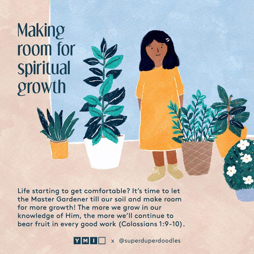 Girl with houseplants making room for spiritual growth
