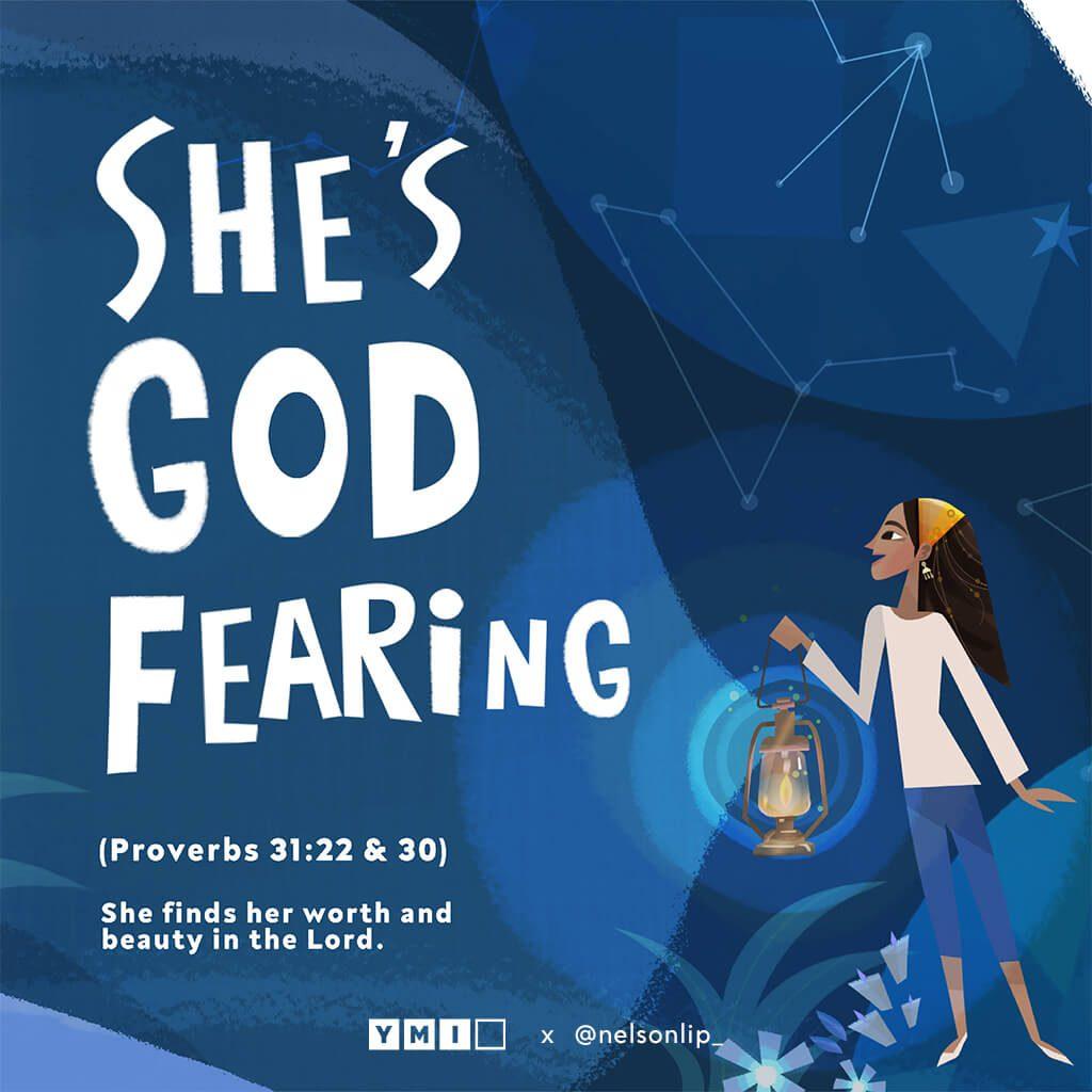 Woman holding a lantern She's God fearing