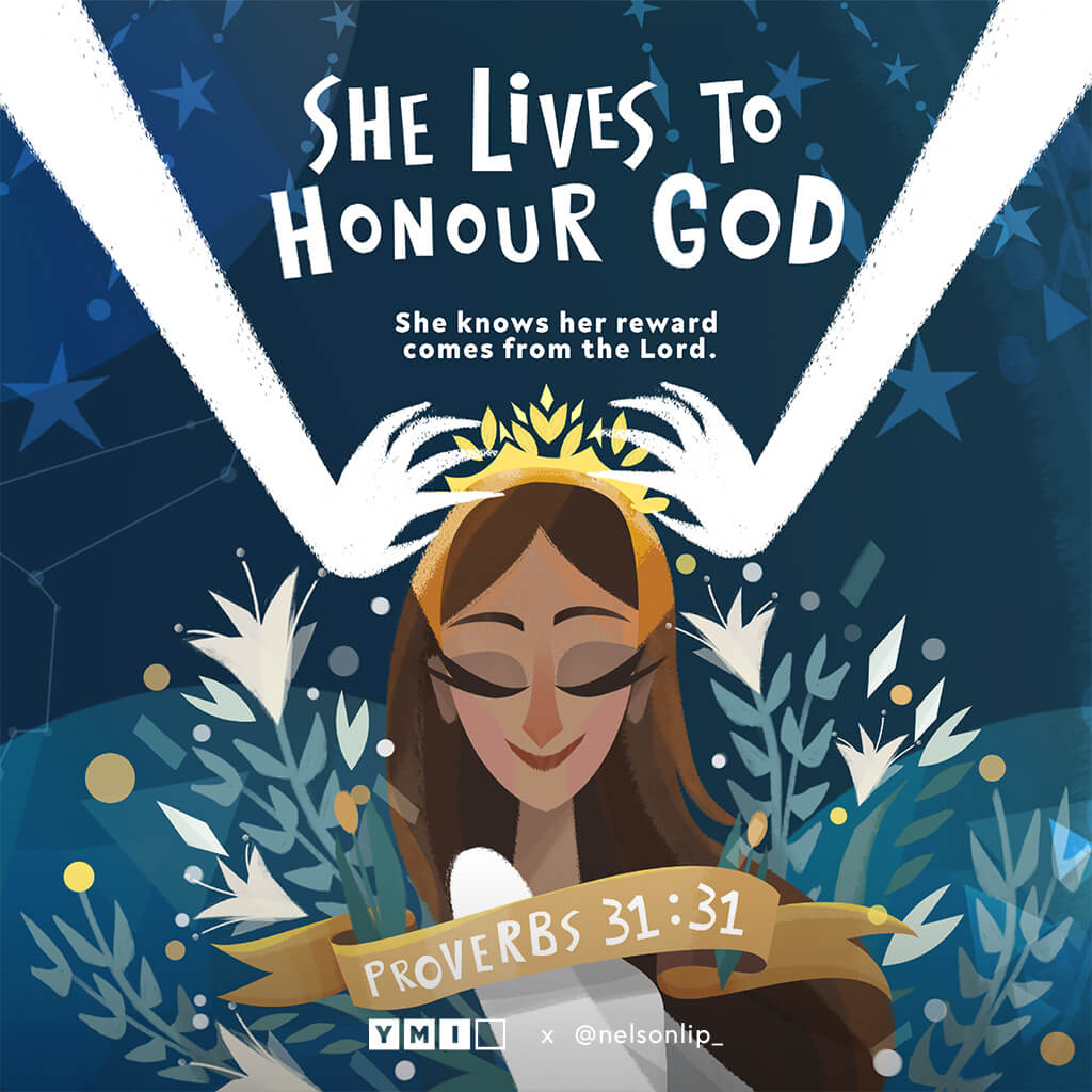 Woman being crowned She lives to honour God