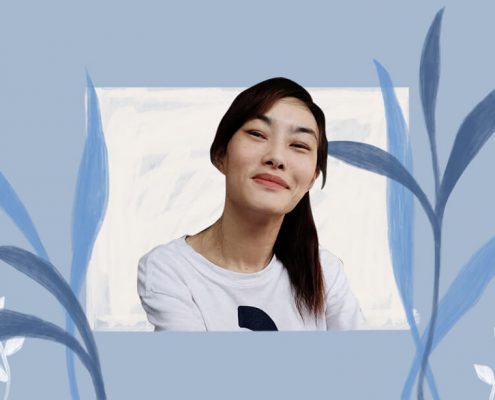 image of Patricia Chua and blue leaves