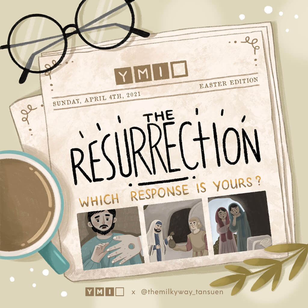 Newspaper displaying easter images of Jesus' resurrection