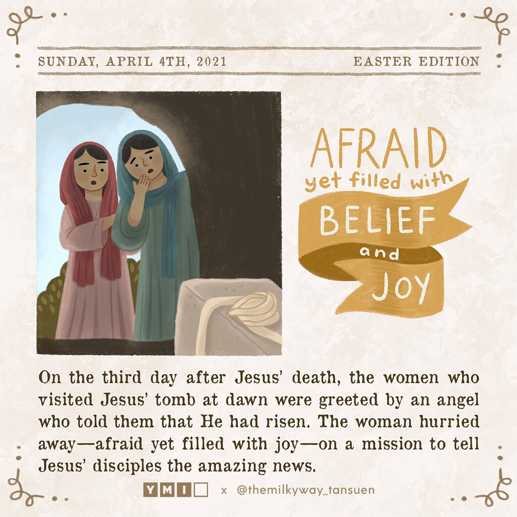 Newspaper article women at Jesus' tomb afraid but filled with belief and joy