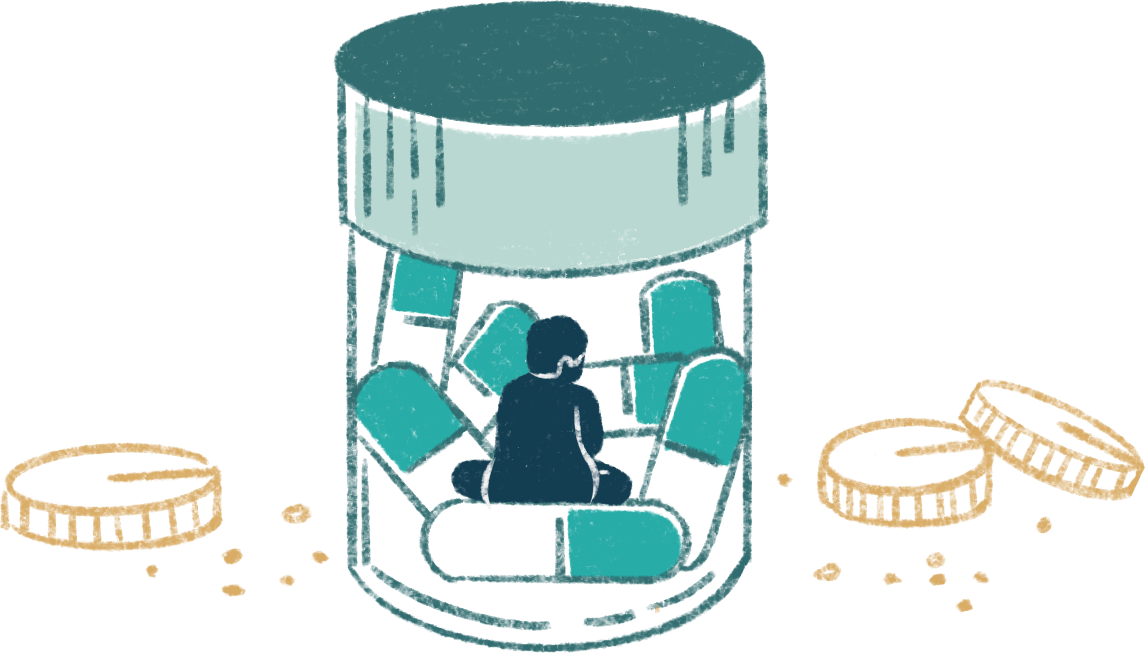 illustration of a kid in a bottle and lot of drugs