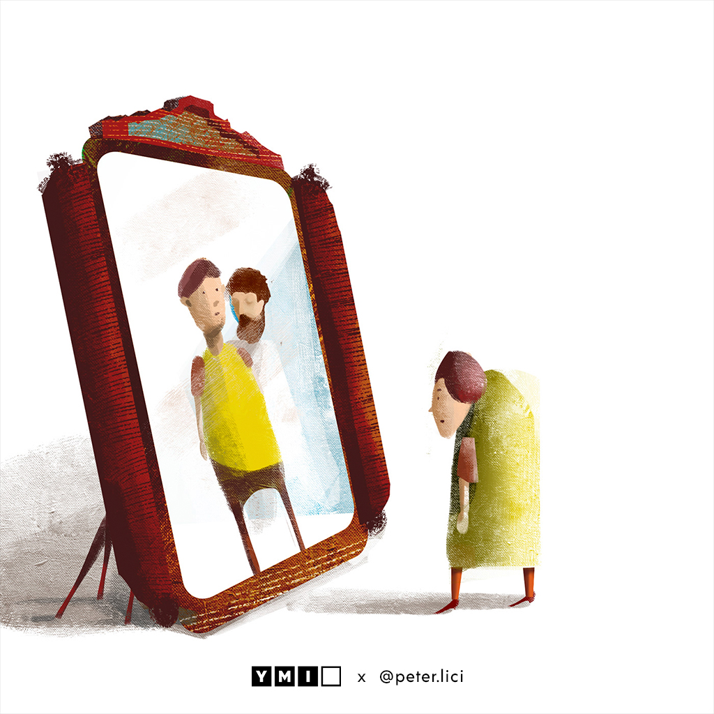 image of a older man looking at himself in the mirror with a younger reflection of himself and Jesus beside him