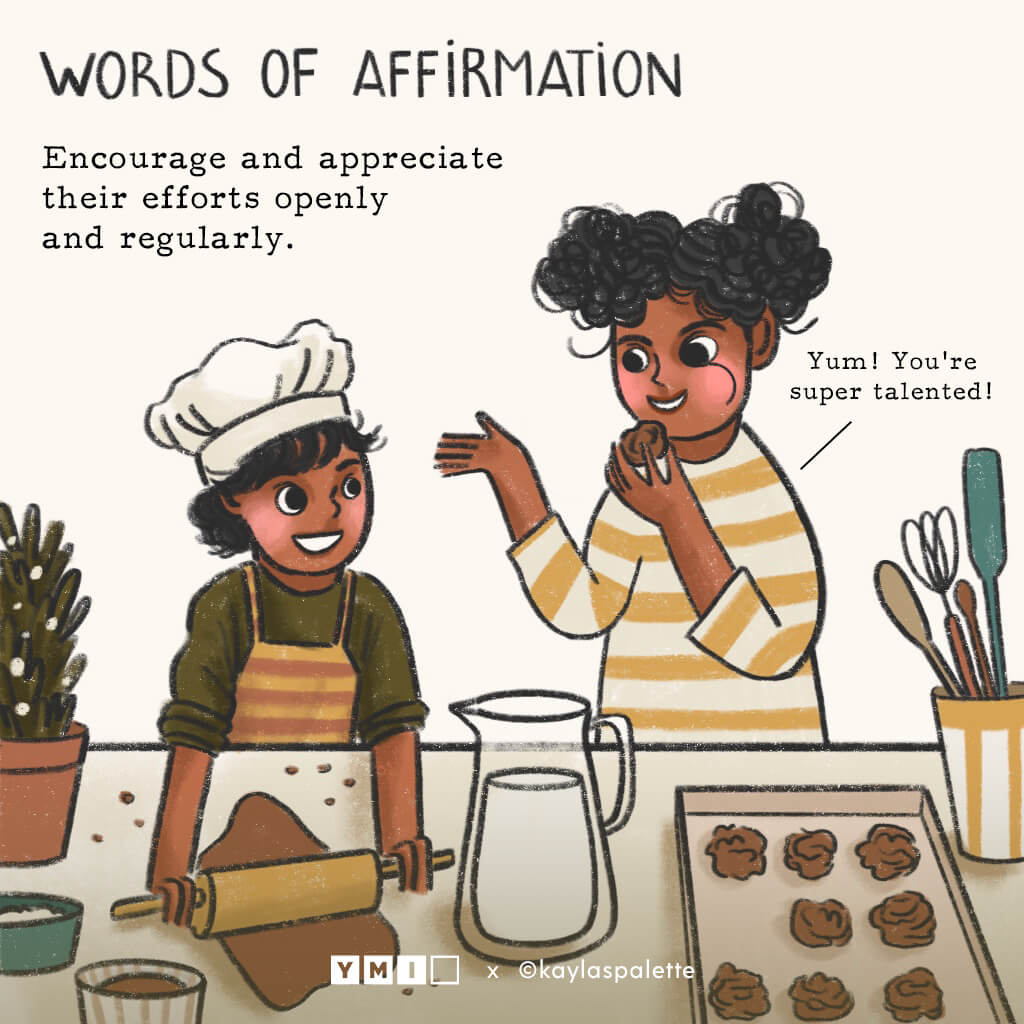 Image of young brother baking and sister trying his cookies with words of affirmation quote on the top