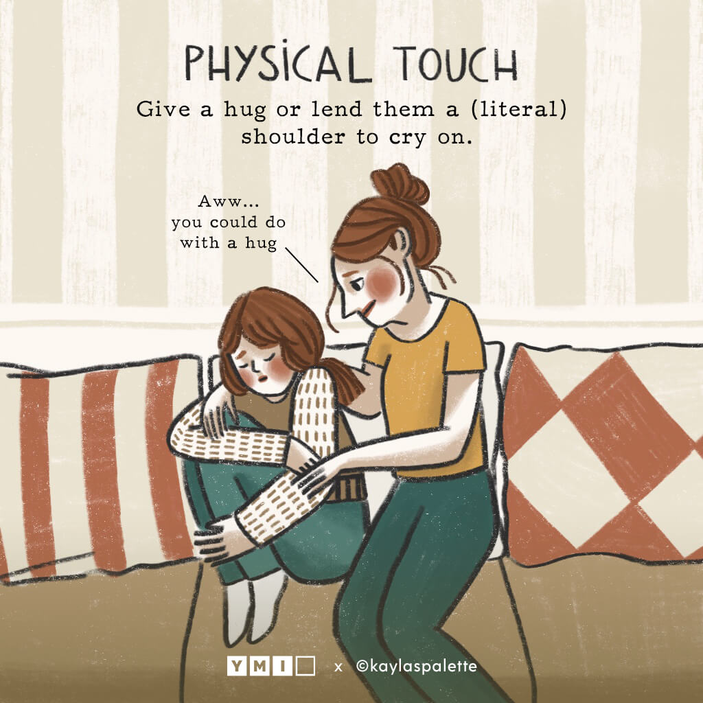 Image of sister consoling her sister with text physical touch on the top