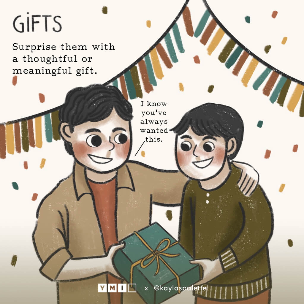 Image of older brother giving a gift to younger brother with text Gift on the top