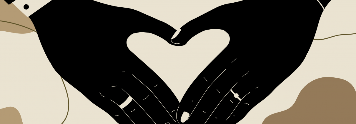 image of married couple hands with rings making a heart shape