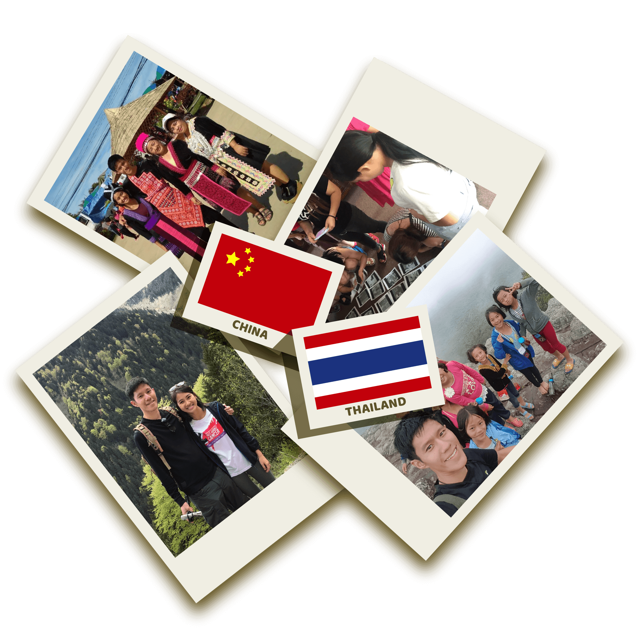 erasers with chinese and thai flag on polaroid photos of daryl and gina at missions