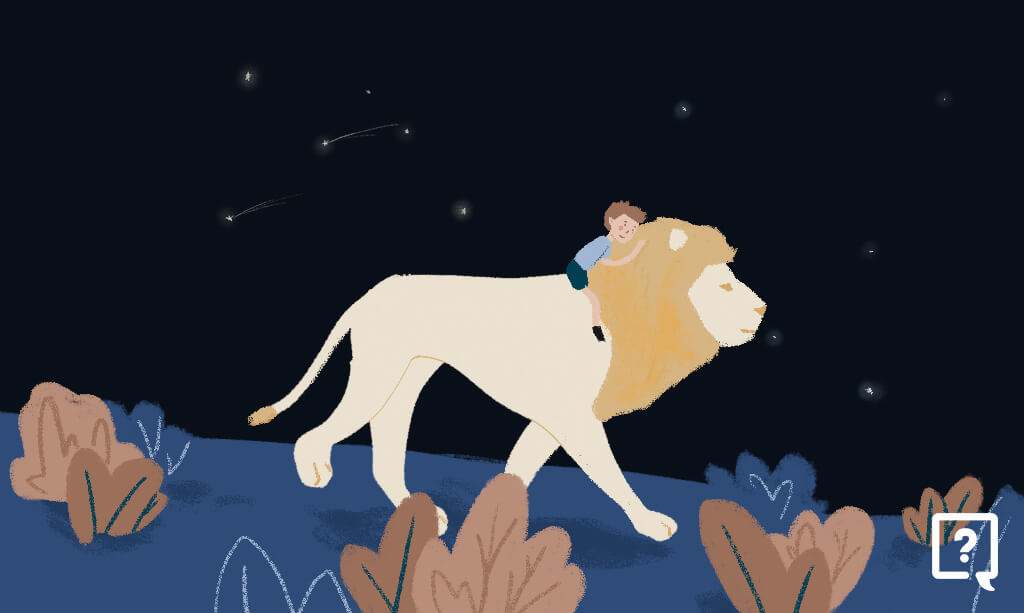 image of a boy and a lion at night