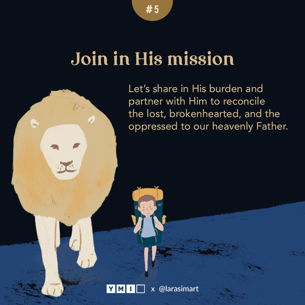 image of a lion and a boy walking in a journey together