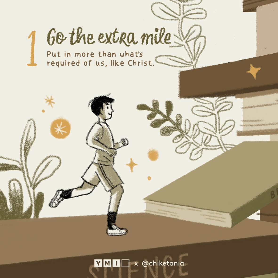 graphic image of a boy running with text of go the extra mile