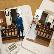 image of passports and wedding photo split in half