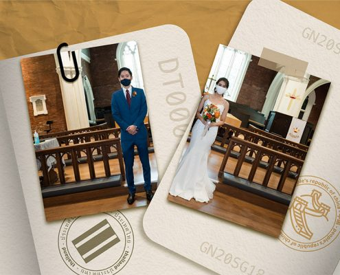 image of passports and wedding photo split in half