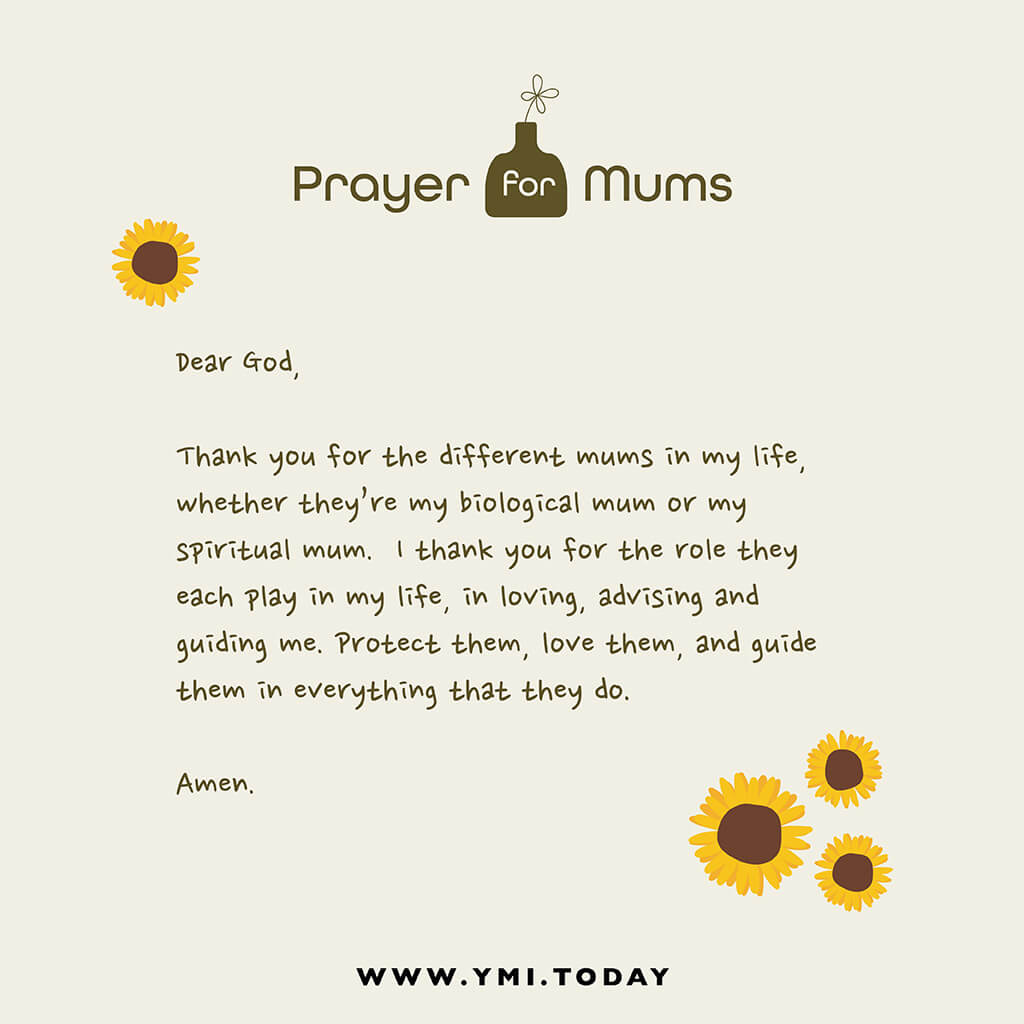 graphic image of a prayer for mums