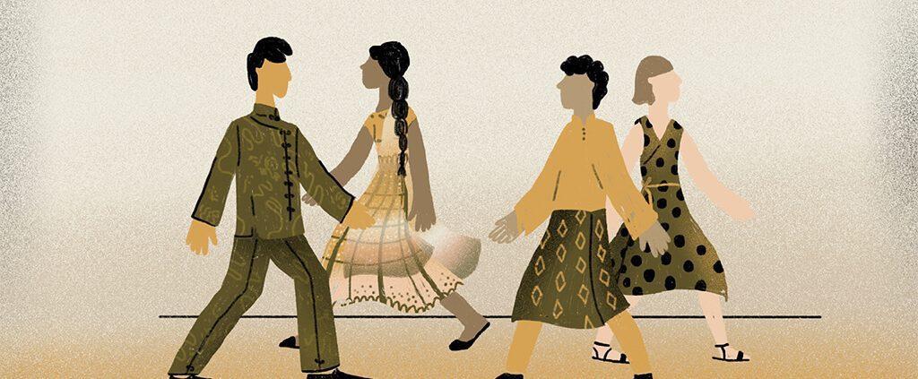 image of 4 races walking