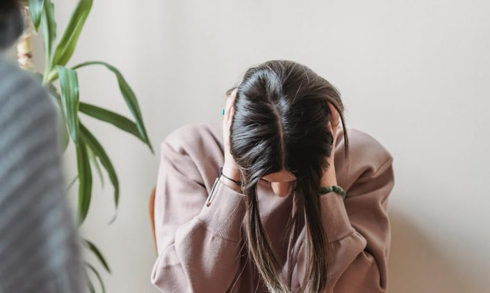 image of a woman upset