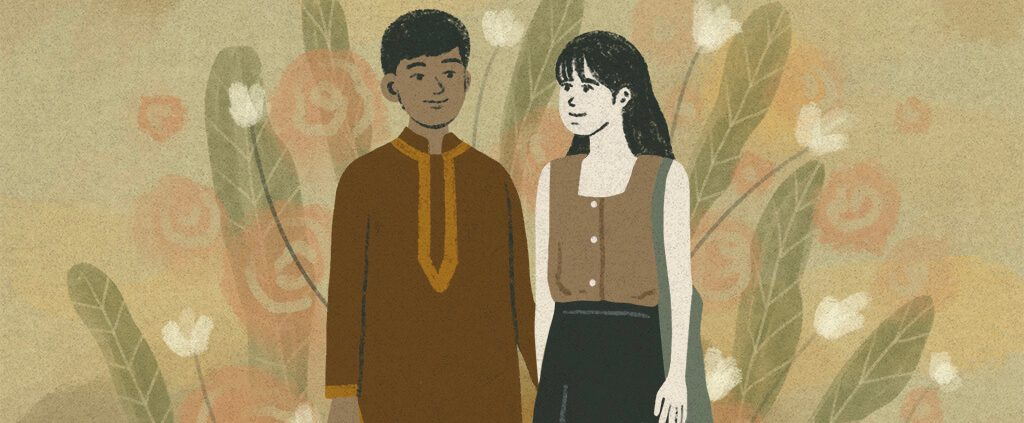 graphic image of a couple from different race