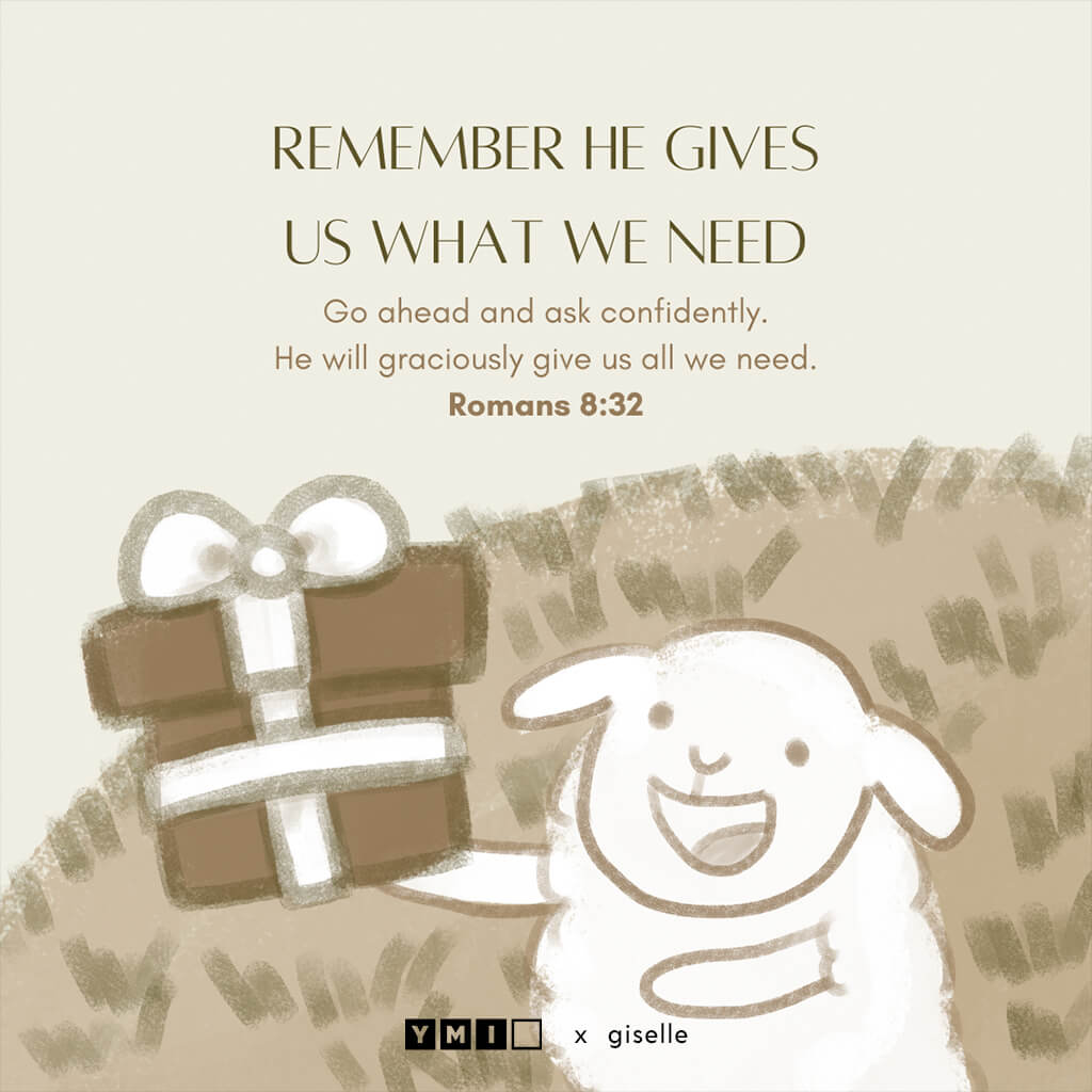 Image of a sheep holding a gift
