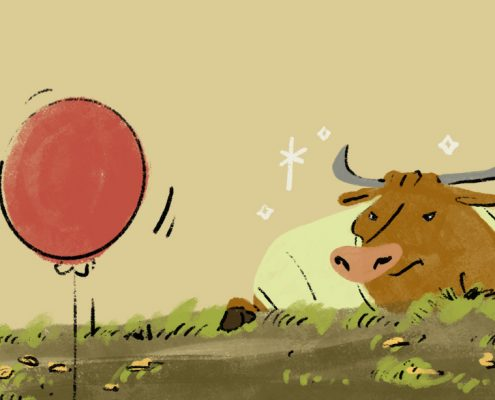 graphic image of a bull and red balloon