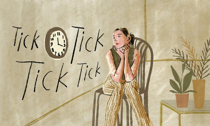 graphic image of a woman looking at the clock