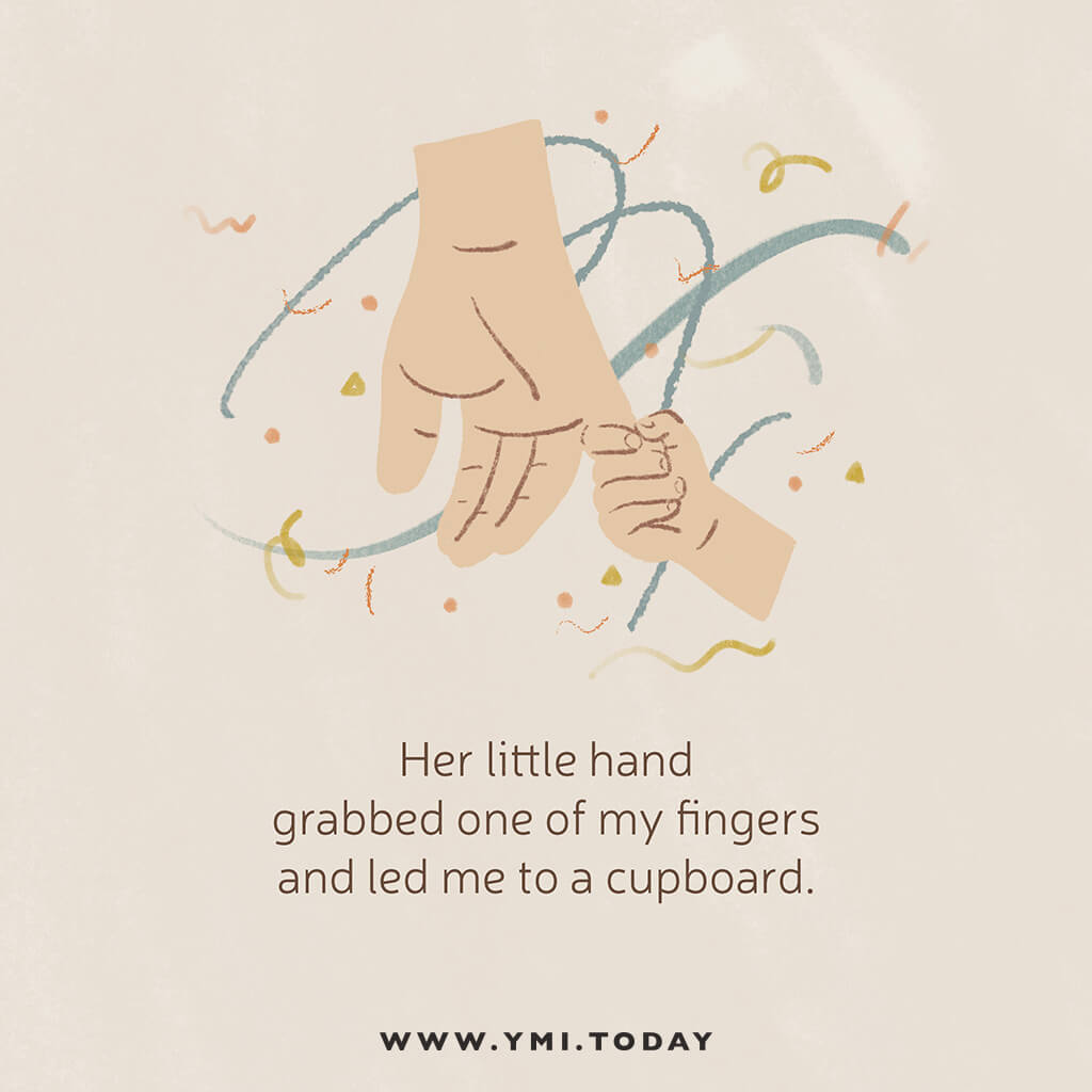 graphic image of a father's hand and his daughter