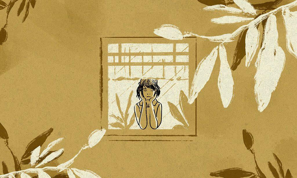 graphic image of a sad girl