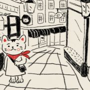 Illustration of a cat walking on a shopping street