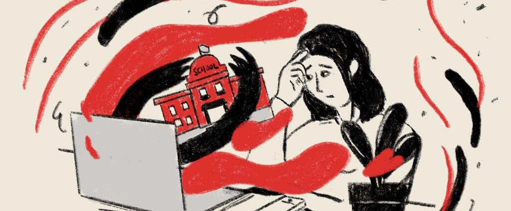 A mother is depress when reading the horrible school murder case online