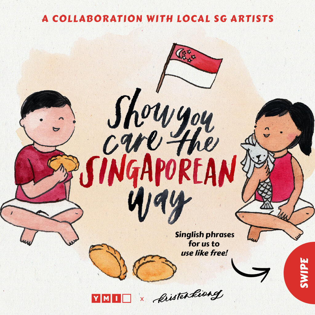 Image of boy and girl celebrating singapore national day