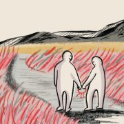 graphic image of a couple walking together
