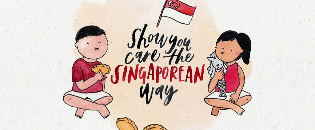 Image of a boy and girl celebrating singapore national day