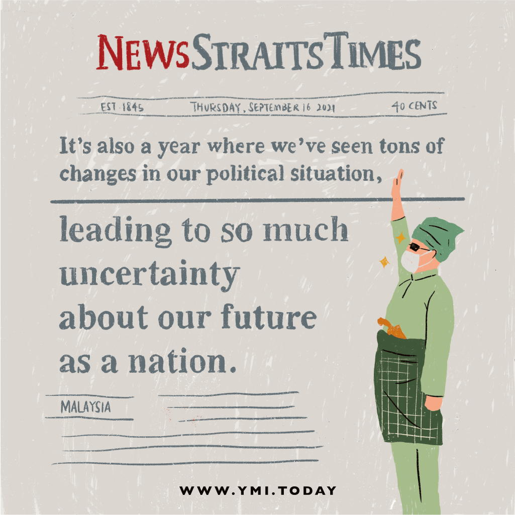 Newspaper written about Malaysia political changes.