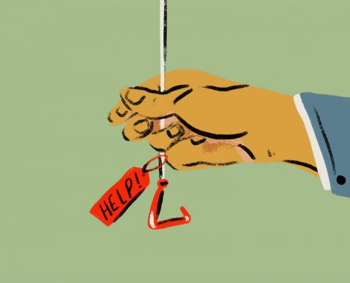 Image of hand pulling a help cord