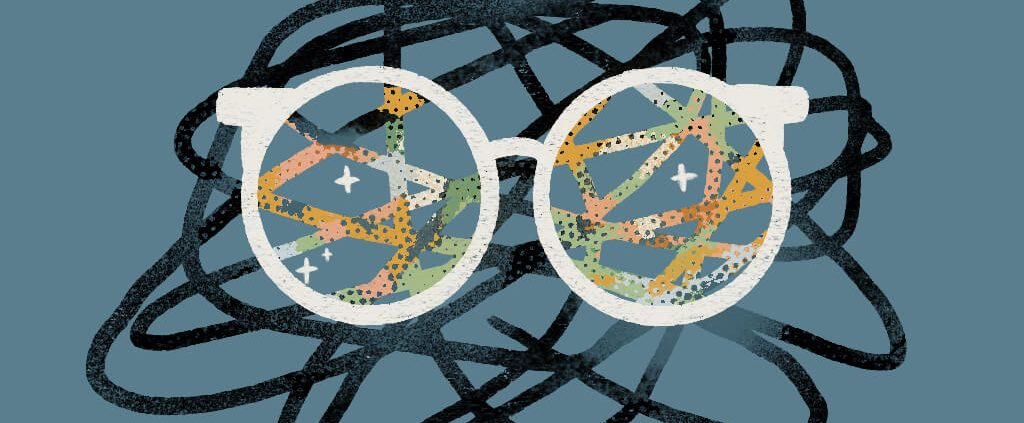 Image of a glasses with a positive view on anxiety